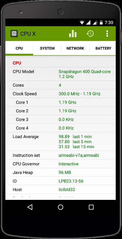 Скачать CPU X для Андроид