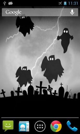 Скачать Хэллоуин призрак живые обои для Андроид