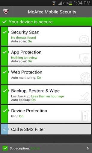 Скачать McAfee Antivirus & Security для Андроид