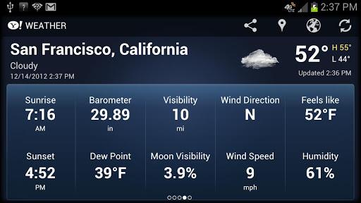 Скачать Yahoo! Weather / Yahoo! Погода для Андроид