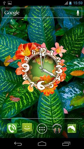 Скачать Живые обои 'Цветочные Часы' / Flower Clock Live Wallpaper для Андроид