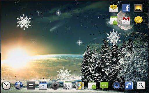 Скачать Зима Луна Живые Обои для Андроид